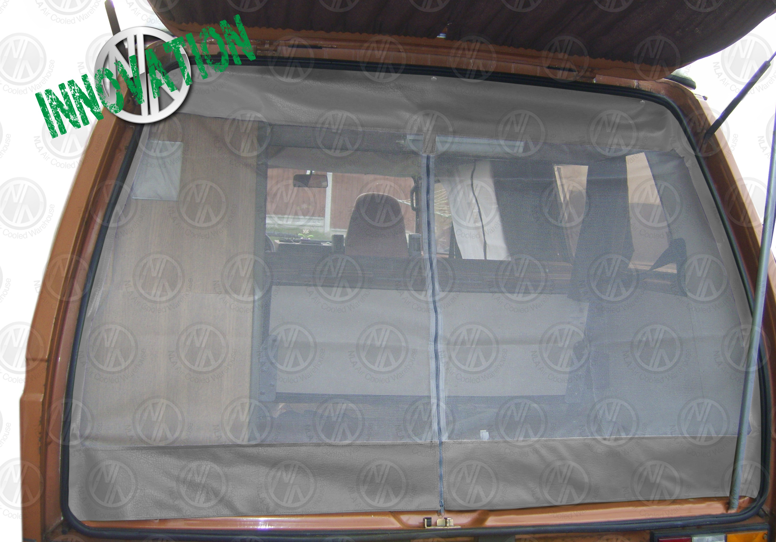 Vw Bug External Visor T Tailgate Net With Middle Zip In Brown
