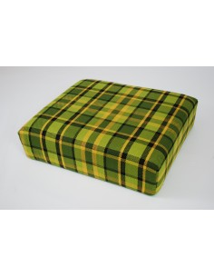 Green plaid booster seat for Westfalia late bay camper