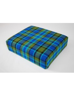 Blue plaid booster seat for Westfalia late bay camper