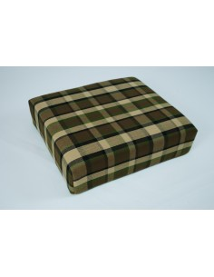Beige plaid stool cover for Westfalia late bay buddy seat