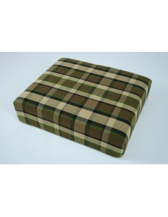 Beige plaid booster seat for Westfalia late bay camper