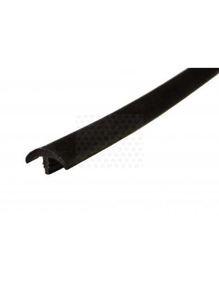 Rubber Edge Trim, Thin T Profile in Black (per metre)