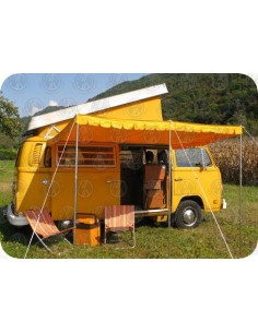 Top Quality Vintage Sun Canopy for VW T2s & VW T25s in Yellow with gutter pole and clamps