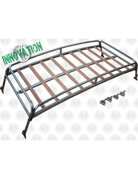 0.6m silver powder coated steel Roof Rack for VW T2 Splits with Solid Beech Slats
