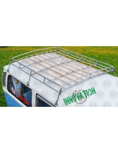 1.8m Silver coated steel Roof Rack for VW T2 Bay with Solid Beech Slats