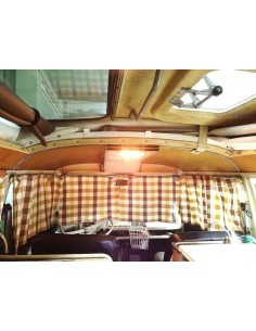 Westfalia Front Curtains for VW T2 Split Screen. 2pc with gliders and hooks
