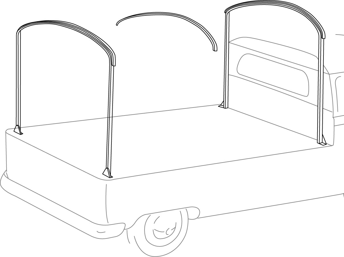 VW T2 Bay Pick Up Single Cab Hard Wood Slats 6pcs  C9636