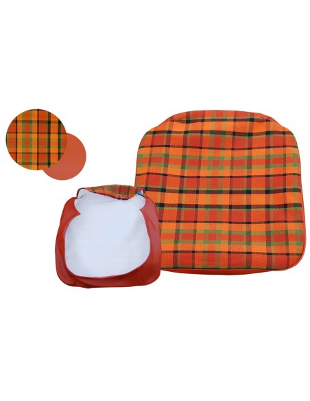 Early Bay Front Seat Base Cover in Orange Plaid