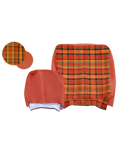 Early Bay Front Seat Full Back Cover in Orange Plaid