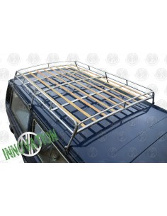 1.8m VW T25 silver powder coated steel roof rack with solid beech slats