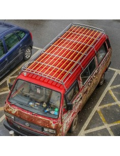 Top quality low profile 3.1m silver powder coated T25 steel Roof Rack with Solid Beech Slats