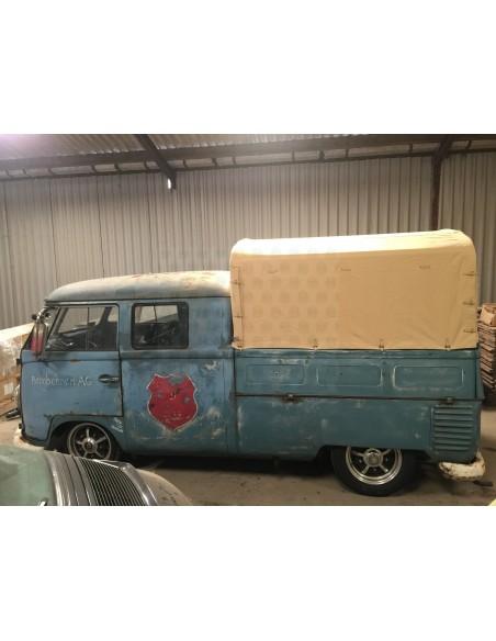 Heavy Duty waterproof tan cotton Canvas fits original Steel Hoops for loading bed on VW T2 Splits Crew /Double cab 50-67