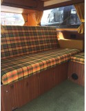 Westfalia Helsinki Full width rock and roll seat bottom cover yellow plaid