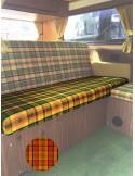 Westfalia Helsinki Full width rock and roll seat bottom cover orange plaid