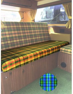 Westfalia Helsinki Full width rock and roll seat bottom cover blue plaid