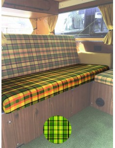 Westfalia Helsinki Full width rock and roll seat bottom cover green plaid