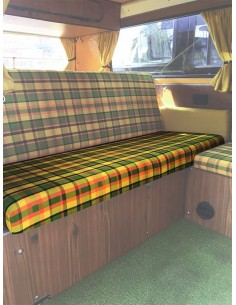 Westfalia Helsinki Full width rock and roll seat bottom cover yellow plaid