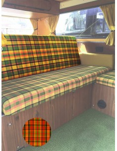 Westfalia Helsinki Full width rock and roll backrest cover orange plaid material.