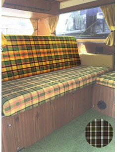 Westfalia Helsinki Full width rock and roll backrest cover beige plaid material.