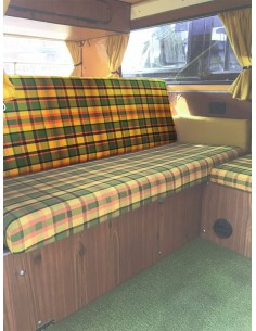 Westfalia Helsinki Full width rock and roll seat backrest cover yellow plaid