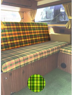 Westfalia Helsinki Full width rock and roll backrest cover green plaid