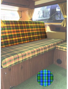 Westfalia Helsinki Full width rock and roll backrest cover blue plaid material.