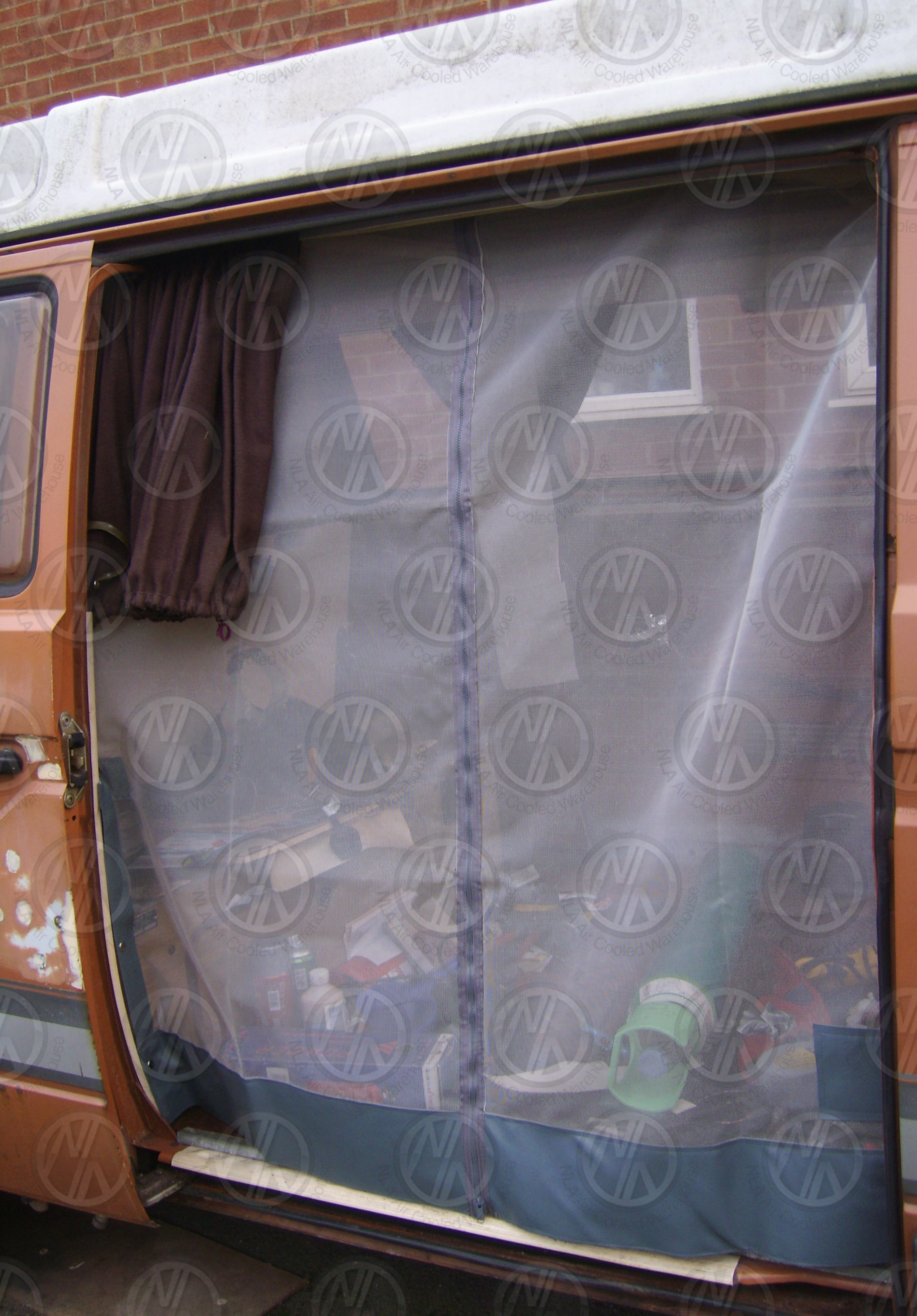 Vw T25 Sliding Door Net With Middle Zip In Grey Nla Vw Parts