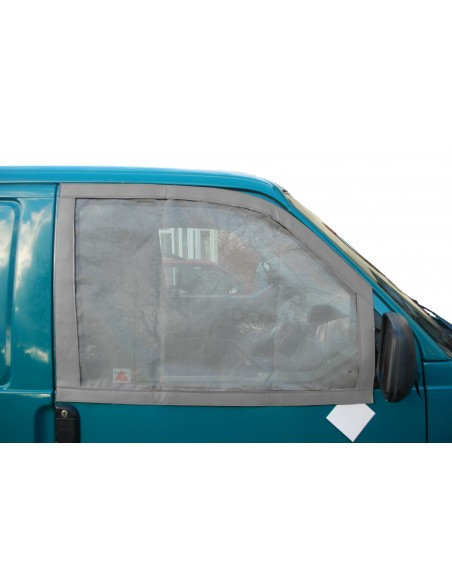 Pair of Cab Window Nets for VW T4 with Grey leatherette