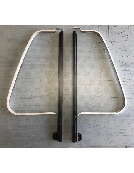 Pair of VW T2 Aluminum Fixed Quarter Light Bars, black & D-Frames, anodised