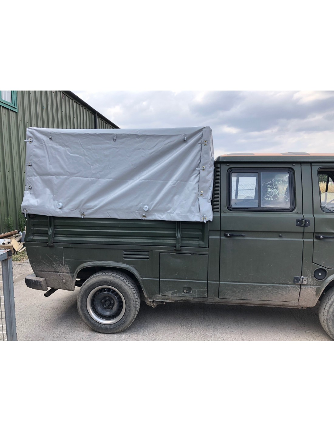 Vw T25 Doka Pick Up Pvc Cover With Front Metal Bow For Original Steel Frame