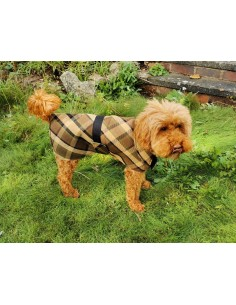 NLA Westfalia beige plain material dog coat double sided with waterproof layer inside large
