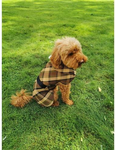 NLA Westfalia beige plain material dog coat double sided with waterproof layer inside medium