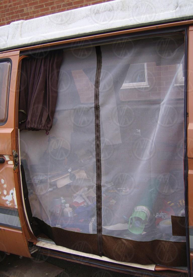 Vw T25 Sliding Door Net With Middle Zip In Brown Nla Vw Parts