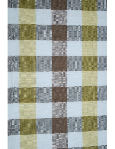 Westfalia curtain cloth white yellow brown check for splits and early bay per metre