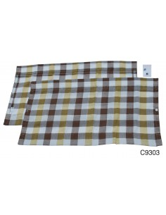 Westfalia Rear Window Curtain for VW T2 Bay in White & Yellow Check
