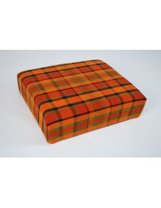 Orange plaid stool cover for Westfalia late bay buddy seat