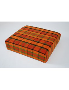 Orange plaid booster seat for Westfalia late bay camper